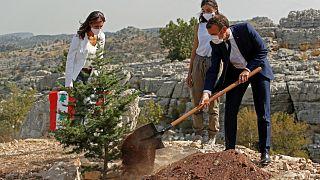 الرئيس الفرنسي إيمانويل ماكرون يغرس شجرة أرز في بيروت بمناسبة مرور 100 على تأسيس دولة لبنان