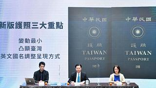 Taiwan's Foreign Minister Joseph Wu, center, at a Sept 2, 2020, news conference to reveal the new Taiwan passport in Taipei, Taiwan.