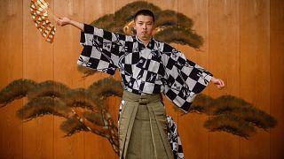 Performer Kennosuke Nakamori taking part in a rehearsal at the Kamakura Noh Theatre