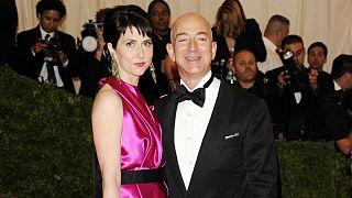 Amazone founder, president and CEO Jeff Bezos and MacKenzie Scott, who recently divorced Amazon founder Jeff Bezos