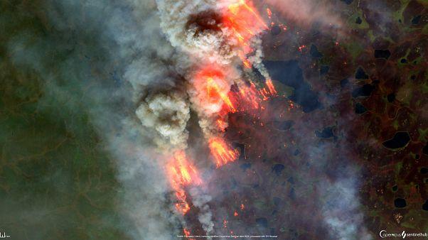 Incendio en el Ártico (Lat: 66,5 Lng: 121,6) el 29 de agosto.