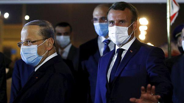Il presidente Macron, prima dell'incontro con l'omologo libanese Michel Aoun, lunedì 31 agosto 2020