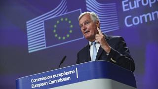 European Union chief Brexit negotiator Michel Barnier speaks during a media conference after Brexit trade talks between the EU and the UK, in Brussels, Friday, Aug. 21, 2020.