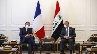 امانوئل ماکرون و مصطفی کاظمی در بغداد