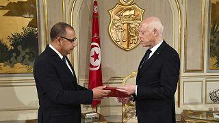 الرئيس التونسي قيس سعيد ورئيس الوزراء الجدي هشام المشيشي، قصر قرطاج،  25 يوليو 2020