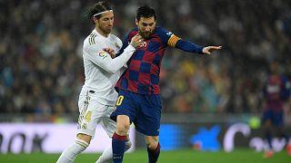 خلال مباراة الدوري الإسباني لكرة القدم بين ريال مدريد وبرشلونة على ملعب سانتياغو برنابيو، مدريد، 1 مارس 2020