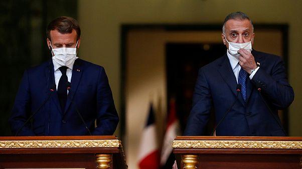 Fransa Cumhurbaşkanı Emmanuel Macron, Irak Başbakanı Kazımi