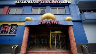 The entrance of brothel Pascha is deserted in Cologne, Germany, Thursday, Sept. 3, 2020.