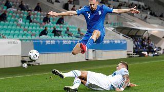 Στιγμιότυπο από τον αγώνα Σλοβενία - Ελλάδα στη Λιουμπλιάνα