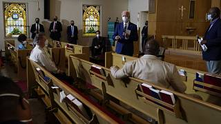 Democratic presidential candidate former Vice President Joe Biden meets with members of the community at Grace Lutheran Church in Kenosha, Wis., Thursday, Sept. 3, 2020.