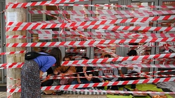 Students during a blockade as they protest at the University of Theatre and Film Arts in Budapest