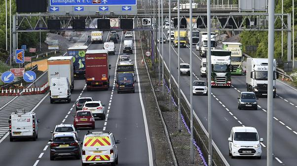 In this file photo dated Monday, May 18, 2020, traffic moves along the M6 motorway near Birmingham, England.