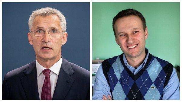 Jens Stoltenberg a baloldali képen, Alekszej Navalnij a jobboldali képen