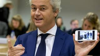 Populist anti-Islam lawmaker Geert Wilders at his hate-speech trial in March 2016.