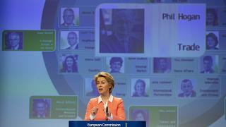 A year ago: European Commission President Ursula von der Leyen announces Ireland's Phil Hogan as candidate for EU Trade Commissioner in Brussels,  Sept. 10, 2019.