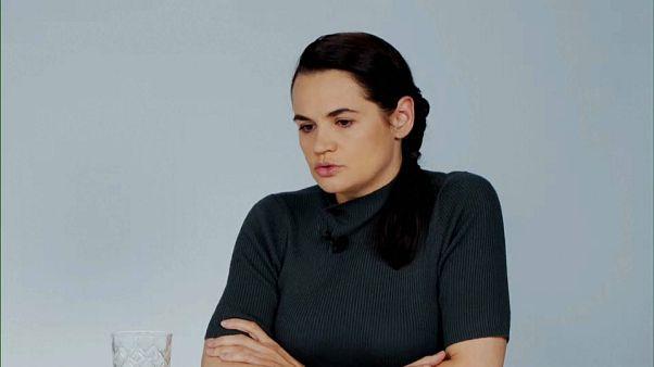 Tijanóvskaya, durante una conferencia este sábado en Vilna