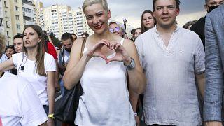 Maria Kolesnikova durante una manifestazione a Minsk il 30 agosto scorso