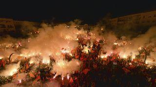Manifestazione a Podgorica nella notte tra il 6 e il 7 settembre