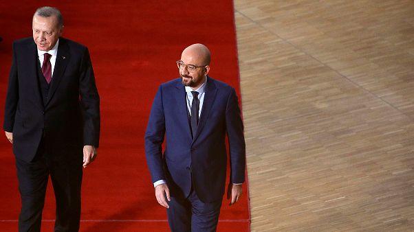 Türkiye Cumhurbaşkanı Recep Tayyip Erdoğan ile AB Konseyi Başkanı Charles Michel / Arşiv