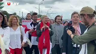 Maria Kolésnikova en una protesta contra el presidente Lukashenko