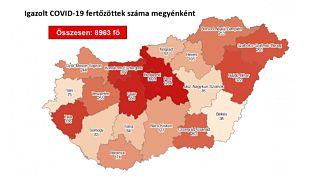 A koronavírus-fertőzöttek száma megyei bontásban, 2020. szeptember 7-én