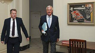 Archives : les négociateurs britannique, David Frost, et européen, Michel Barnier, à Bruxelles le 21 août 2020