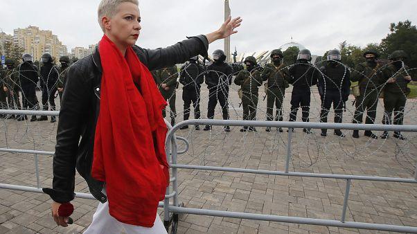 Мария Колесникова на акции в Минске 23 августа 2020