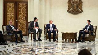 نائب رئيس الوزراء الروسي يوري بوريسوف ووزير الخارجية سيرغي لافروف يلتقيان بالرئيس السوري بشار الأسد في دمشق، 7 سبتمبر 2020.