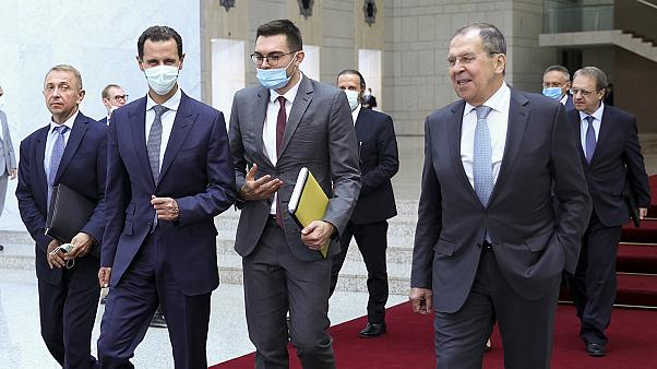 Suriye Devlet Başkanı Beşşar Esad, Rusya Dışişleri Bakanı Sergey Lavrov'u Şam'da kabul etti