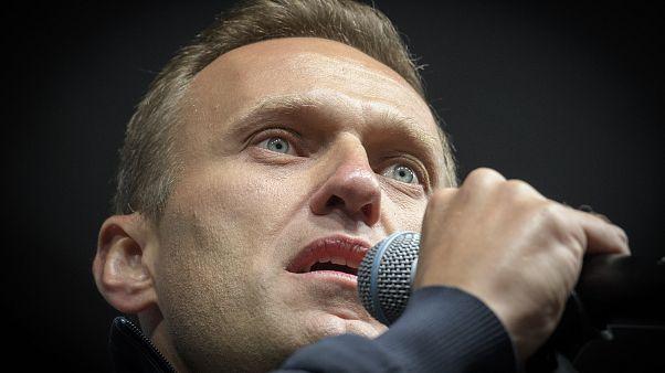 Esta foto de archivo tomada el 29 de septiembre de 2019 muestra al líder de la oposición rusa Alexei Navalni dando un discurso durante una manifestación en Moscú.