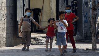 أطفال في قطاع غزة في ظل تفشي وباء كورونا
