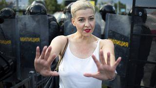 Die unter mysteriösen Umständen verschwundene Maria Kolesnikowa. Eines ihrer letzten Fotos datiert vom 30. August - bei einer Demonstration in Minsk