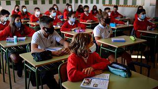 Des élèves dans une école de Pamplune le 7 septembre 2020