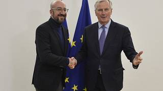 European Council President Charles Michel with Barnier in March 2020