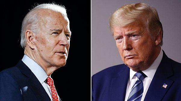 Joe Biden (b) és Donald Trump (j)