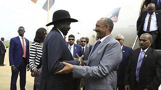 عبد الفتاح برهان، رئيس مجلس السيادة السوداني رفقة رئيس جنوب السودان سلفا كير