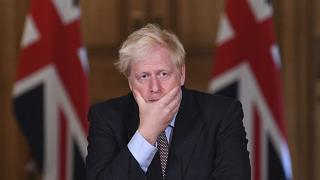 Britain's Prime Minister Boris Johnson speaks during a virtual press conference at Downing Street, London, Wednesday Sept. 9, 2020.