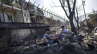 Im Lager Moria nach dem Brand