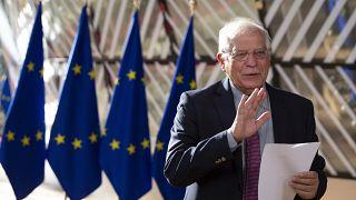 رشيس السياسية الخارجية للاتحاد الأوروبي جوزيف بوريل عند مبنى المجلس الأوروبي في بروكسل. 2020/07/13