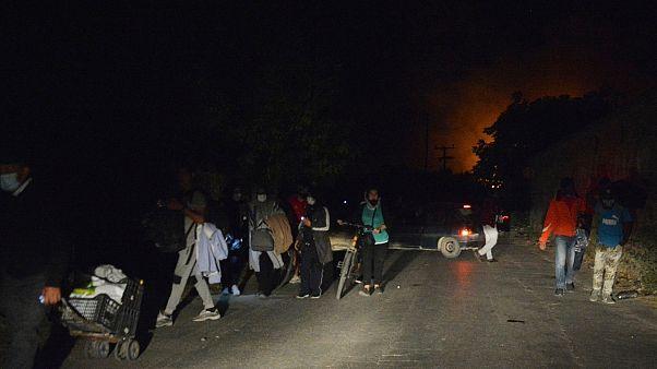 Tűz a Moria menekülttáborban