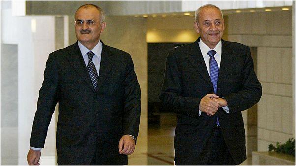 رئيس مجلس النواب اللبناني نبيه بري ووزير المالية السابق حسن خليل