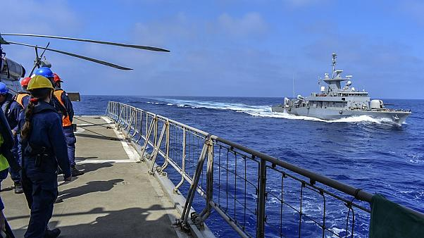 Friday, Sept. 4, 2020, warships participate in a joined training drill with armed forces from Greece and the United Arab Emirates near the Greek island of Crete