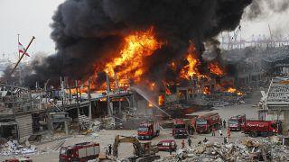 Fire burns in the port in Beirut, Lebanon, Thursday, Sept. 10. 2020.