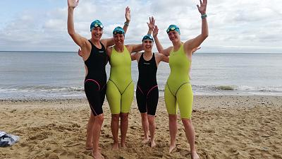 The first ever all-female relay team to swim a medley relay across the English Channel