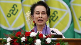 In this Jan. 28, 2020, file photo, Myanmar's leader Aung San Suu Kyi delivers a speech during a meeting on implementation of Myanmar Education Development in Naypyidaw
