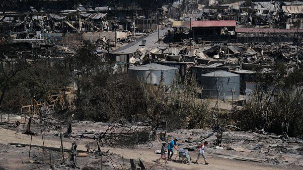 Drónfelvételen a tűz pusztítása a leszboszi menekülttáborban