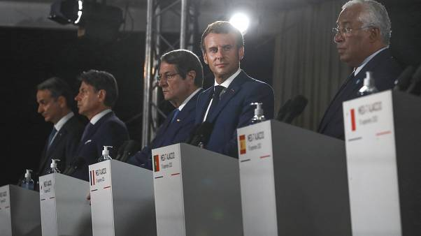 The leaders, from left to right, of Greece, Italy, Cyprus, France, Portugal during a media conference after an emergency summit in Corsica island, Sept.10, 2020.