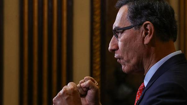 El presidente de Perú, Marín Vizcarra, durante un discurso