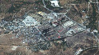 Αεροφωτογραφία από το κατεστραμμένο ΚΥΤ της Μόριας στη Λέσβο