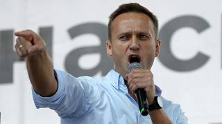 Russian opposition activist Alexei Navalny gestures while speaking to a crowd during a political protest in Moscow.